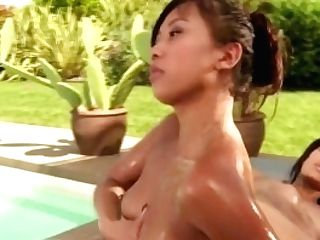 Asian Nymphs Love The Nuru Rubdown Together Outdoors